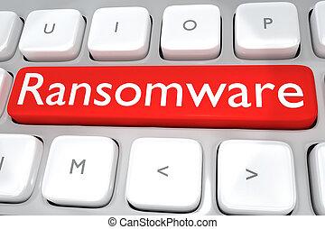 hacher, concept, -, ransomware