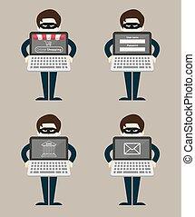 hacher, concept, voleur, business, ligne