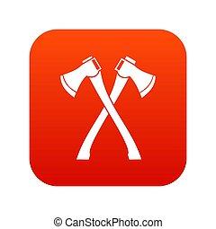 haches, deux, traversé, numérique, rouges, icône