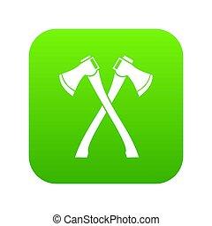 haches, deux, traversé, numérique, vert, icône