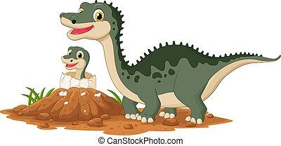 hachure, bébé, dinosaure, mère
