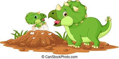 hachure, bébé, mère, triceratops