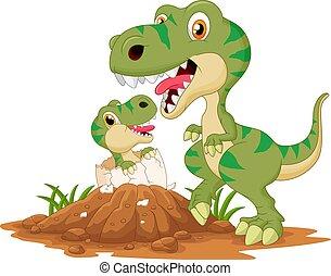 hachure, tyrannosaurus, bébé, mère