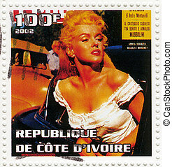 hacia, estampilla, actuación, 1960s, -, d'ivoire, actriz, ...