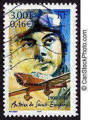 hacia, estampilla, escritor, aviador, de, -, antoine, 2000, saint-exupery, impreso, francia, 2000:, exposiciones