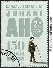 hacia, estampilla, finlandia, -, aniversario, aho, (1861-1921), juhani, impreso, 2011:, 150th, 2011, exposiciones