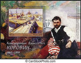 hacia, estampilla, korovin, -, aniversario, k.a., pintor, impreso, nacimiento, 2011:, (1861-1939), 150th, 2011, rusia, exposiciones