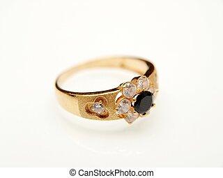 hacia, oro, amarillo, negro, piedra preciosa, anillo, blanco
