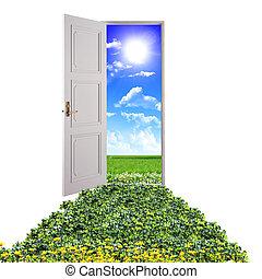 hacia, puerta, naturaleza