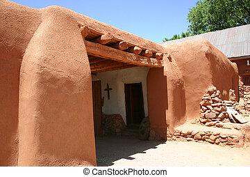 Hacienda Detail - Detail of adobe hacienda in New Mexico