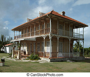 hacienda in Guadeloupe - historic wooden hacienda building...