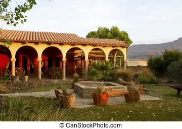 Hacienda or courtyard in American southwest at sunrise