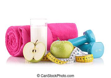 haciendo dieta, alimento, y, equipo salud