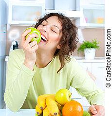 haciendo dieta, concept., sano, comida., mujer joven, come, fruta fresca
