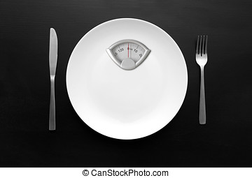 haciendo dieta, concepto, peso, placa, -, escala, blanco