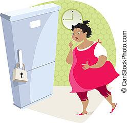 haciendo dieta, dama, refrigerador