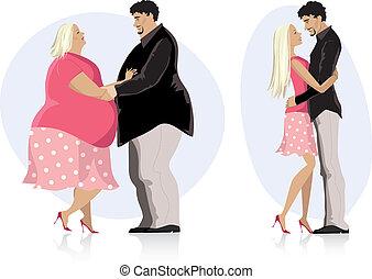 haciendo dieta, pareja, enamorado