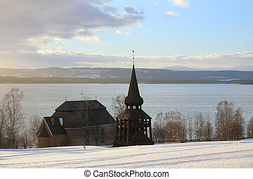 Hackas church at Lake Storsjon, Jamtland, Sweden, in winter