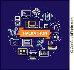 Hackathon Signs Round Design Template Thin Line Icon Concept. Vector