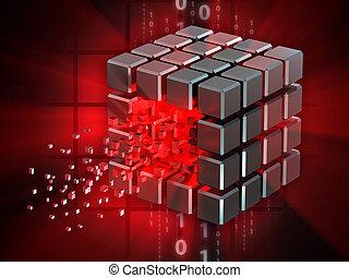 hacked, データ, 立方体
