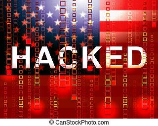hacked, bandeira americana, meios, cortar, eleição, 3d, ilustração