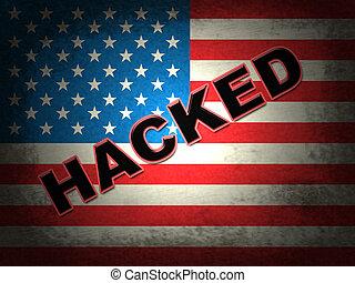 hacked, bandeira americana, mostrando, cortar, eleição, 3d, ilustração