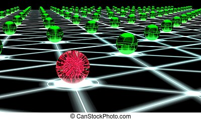 Hacked hexagon network of sphere nodes cybersecurity concept...
