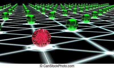 Hacked hexagon network of sphere nodes cybersecurity concept...