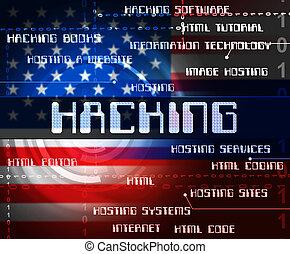hacked, norteamericano, palabras, actuación, tajar, elección, 3d, ilustración