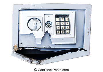 Hacked safe with combination lock
