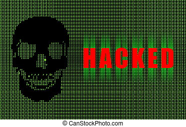 Hacked Warning Digital Signature in Green Ascii