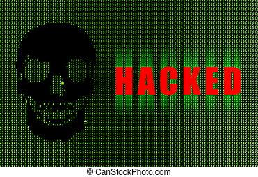 Hacked Warning Digital Signature in Green Ascii