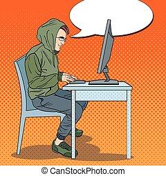 hacker, övertäck, man, stöld, data, från, computer., cybernetiska, crime., poppa konst, retro, vektor, illustration