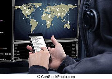 hacker , ευκίνητος τηλέφωνο , ηλεκτρονικός υπολογιστής , κλέπτων , χρησιμοποιώνταs , δεδομένα