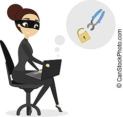 hacker., 隔離された, 女性