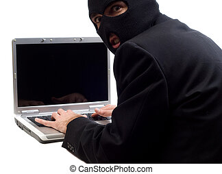 A hacker is using a laptop computer to steal information, isolated against a white background