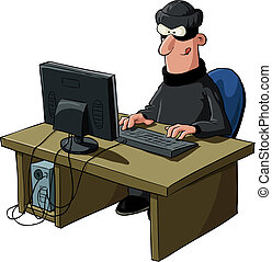 Hacker - A hacker on a white background, vector