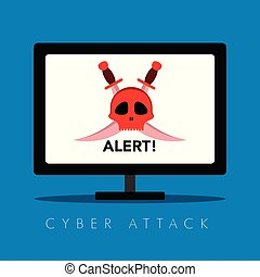 Hacker alert on a computer screen. Cyber security