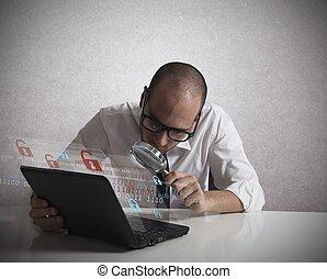 hacker, analizując, software