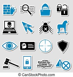 hacker and computer security theme stickers set eps10