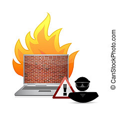 hacker and fire wall security warning