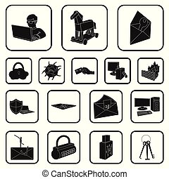 Hacker and hacking black icons in set collection for design. Hacker and equipment vector symbol stock web illustration.