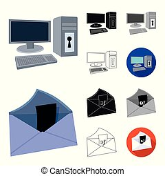 Hacker and hacking cartoon, black, flat, monochrome, outline icons in set collection for design. Hacker and equipment vector symbol stock web illustration.