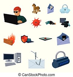 Hacker and hacking cartoon icons in set collection for design. Hacker and equipment vector symbol stock web illustration.