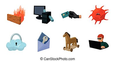 Hacker and hacking icons in set collection for design. Hacker and equipment vector symbol stock web illustration.