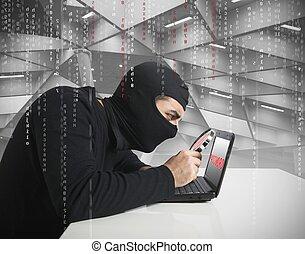 Hacker and password - Hacker look for password in a laptop