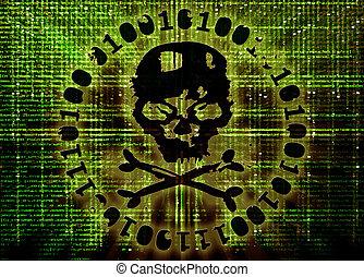 hacker, angrepp, begrepp, täcka, illustration