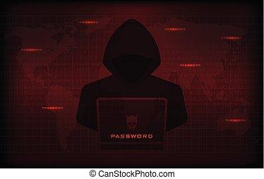 hacker, användande laptop, stöld, konfidentiell, data, som, lösenord