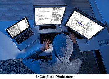 hacker, användande, mångfald, datorer, till, stjäla, data