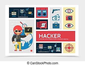 hacker, appartamento, infographic, sagoma, attività